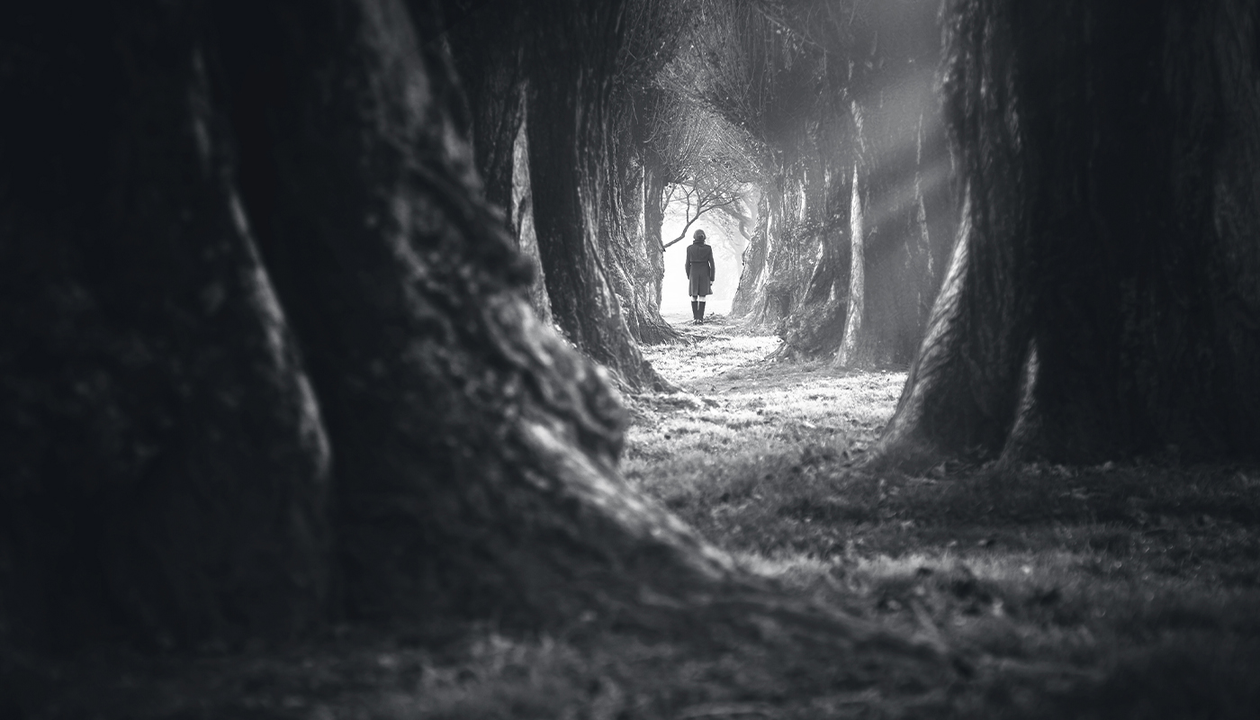A figure walking into a dark forest