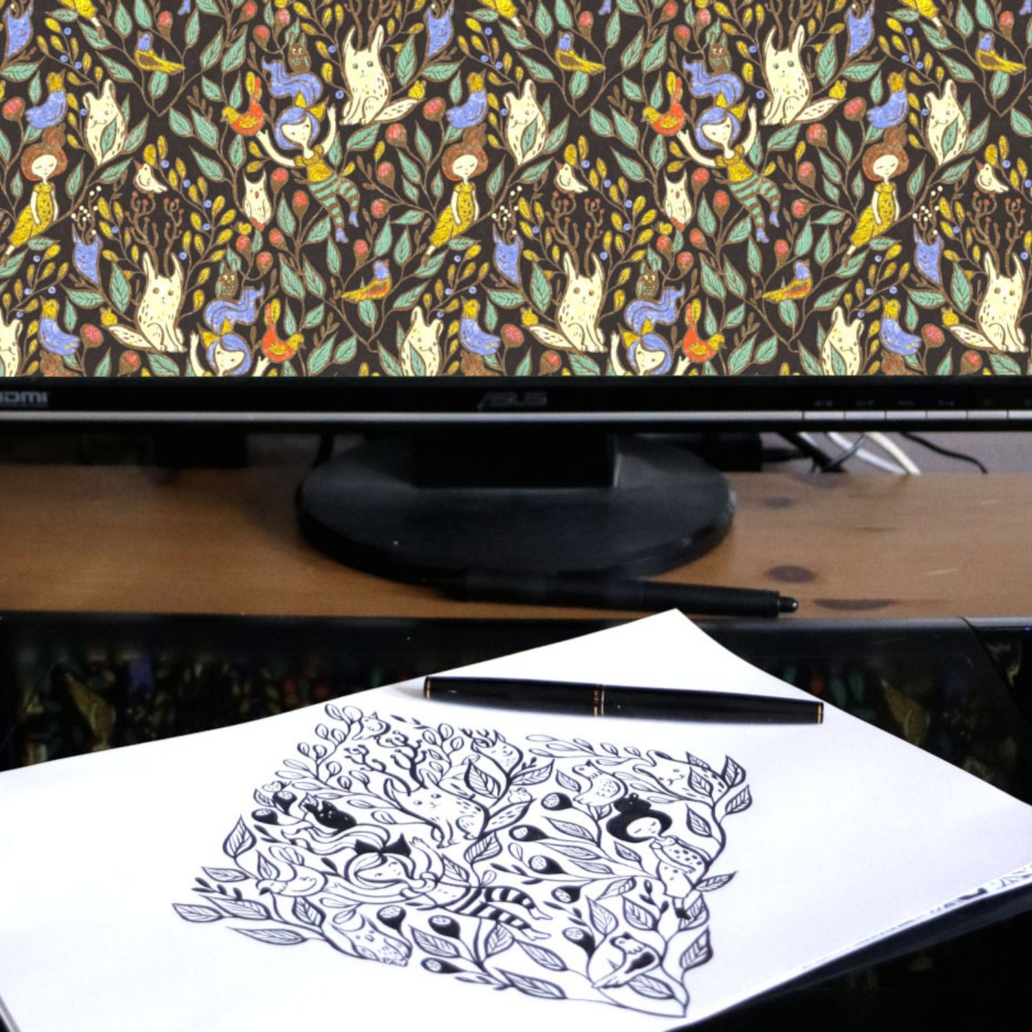 Drawing translated onto a computer screen