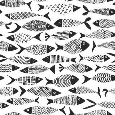 Fabric design with black and white fish