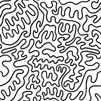 Fabric design with black and white squiggles