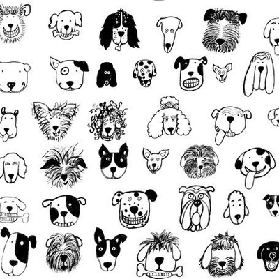 Fabric design with black and white dog doodles