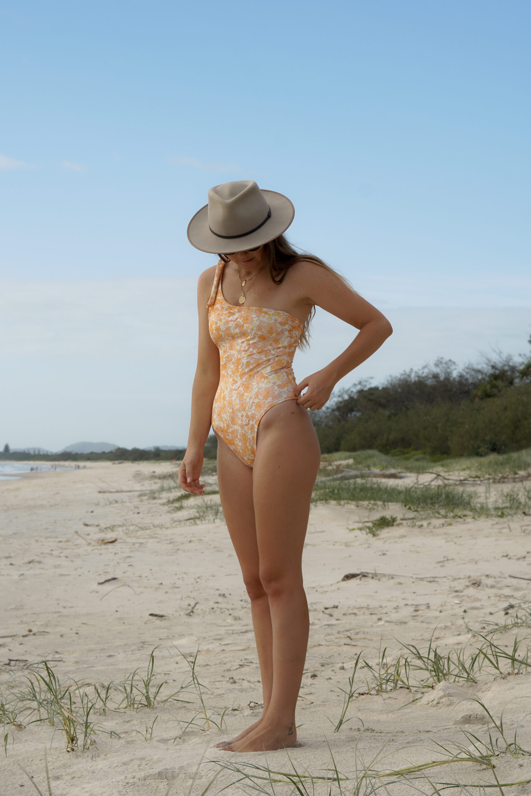 Maddy wearing a handmade bathing suit on the beach