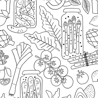 Fabric design with coloring book styled drawings of vegetables