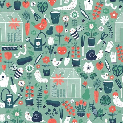 Fabric design with green and orange gardening supplies