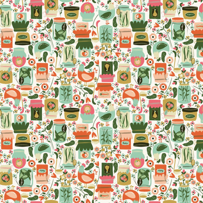 Fabric design with green teal and orange drawings of pickles and pickle jars