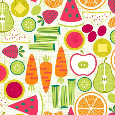 Fabric design with colorful fruits and vegetable drawings