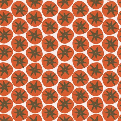 Fabric design with tomatoes repeated