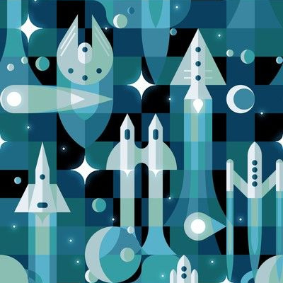 Fabric design with blue and green spaceships and stars