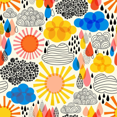 fabric design with red, blue, and yellow weather symbols