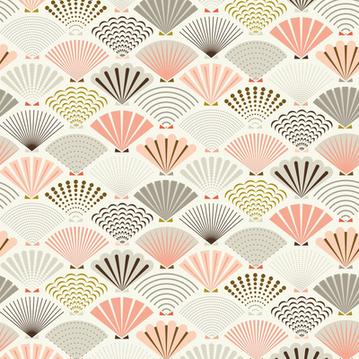 Fabric design with dull pink and green seashells