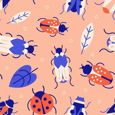 Fabric design with pink and blue bugs