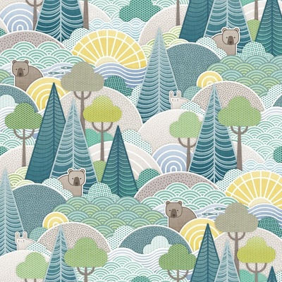 A pattern featuring a green forest and animals