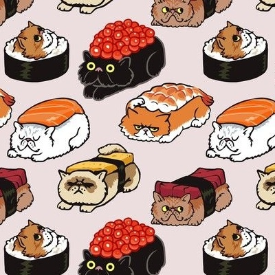 Cats dressed up as sushi fabric design