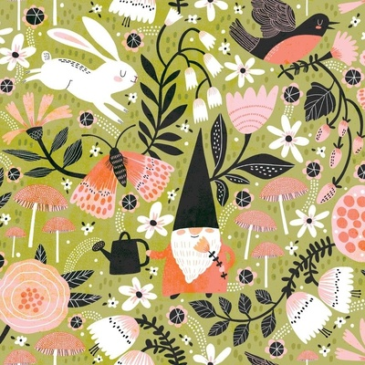 Surface Pattern design in a garden with gnomes and rabbits