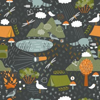Pattern illustrating camping at night