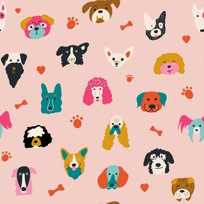 Dog portrait fabric design in pink