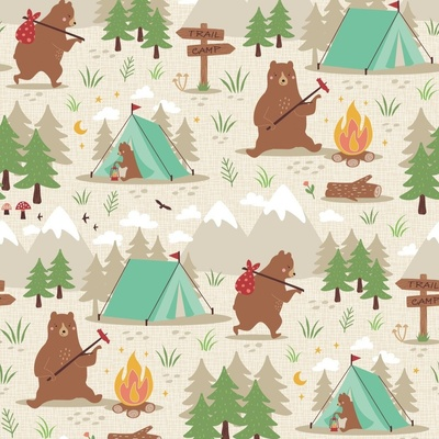 A surface pattern design featuring bears in the forest and at a campsite