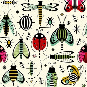 Design with red and green beetles, ladybugs and other insects
