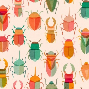 Design with orange and green toned beetles