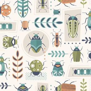 Design with blue, green and orange insects with leaf details