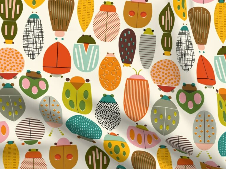 Design with colorful beetles