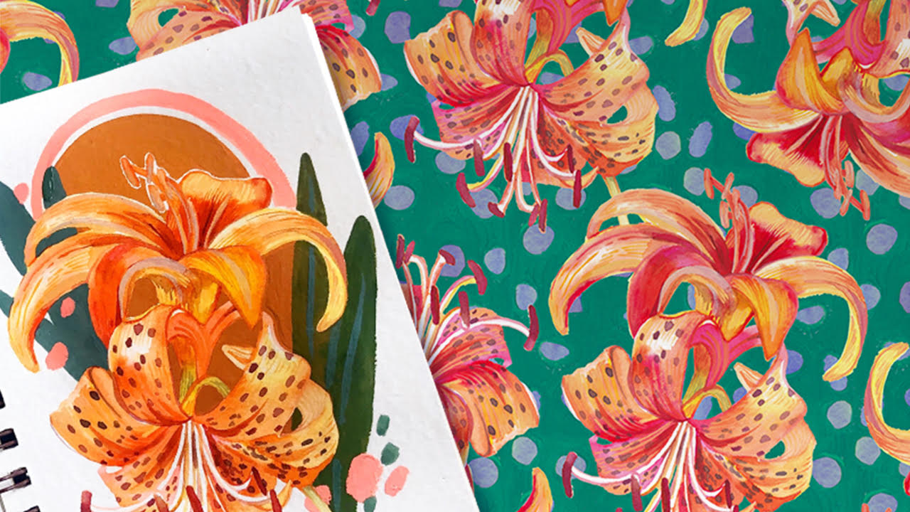 A illustration in a sketchbook shows next to the final surface pattern design