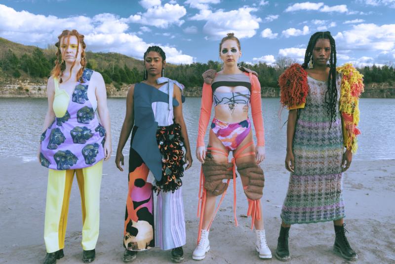 Four models wearing clothes designed by Kelsie Jones