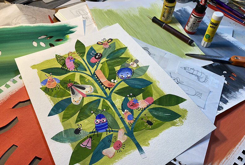 A collage artwork in progress featuring cute bugs on a plant