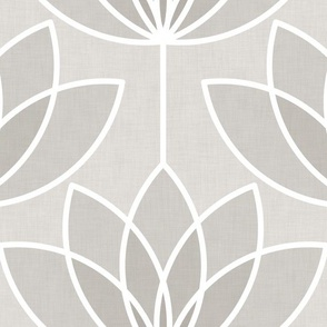 Dark gray and light gray lotus flowers outlined in white appear on a light gray background