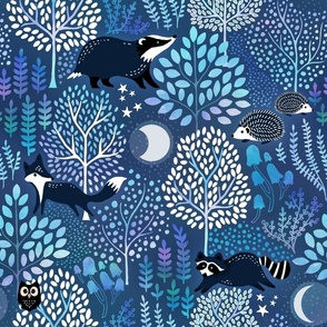 Black hedgehogs, foxes and badgers walk around white trees on a blue background