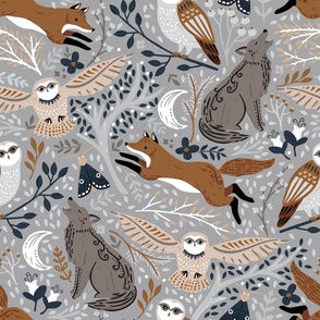 A dark gray wolf, red fox and tan owl repeat on this light gray background