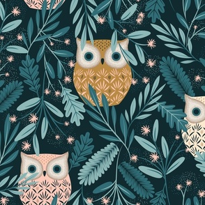 Three owls (one yellow, one pink, one white) hide in green branches with small pink flowers on a black background