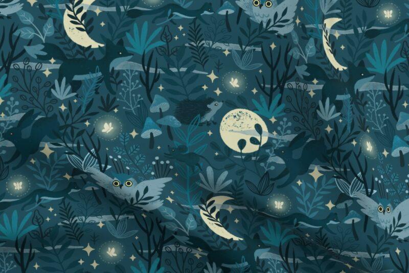 Blue gray fireflies, hedgehogs and mushrooms walk under a yellow moon on a dark blue background