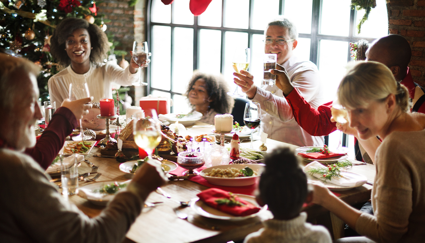 Family around the table for a christmas meal