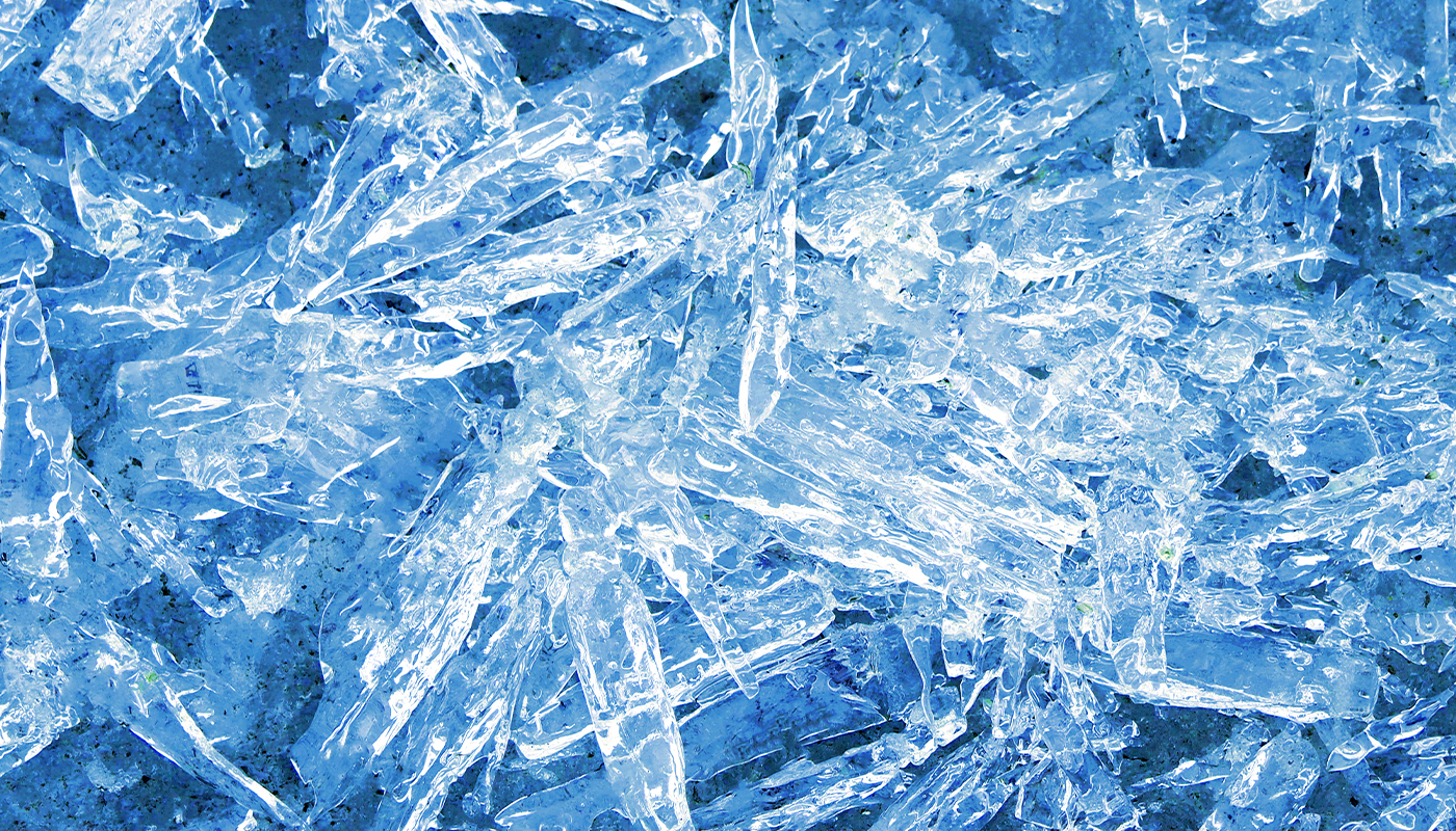 Ice shards overlapping each other