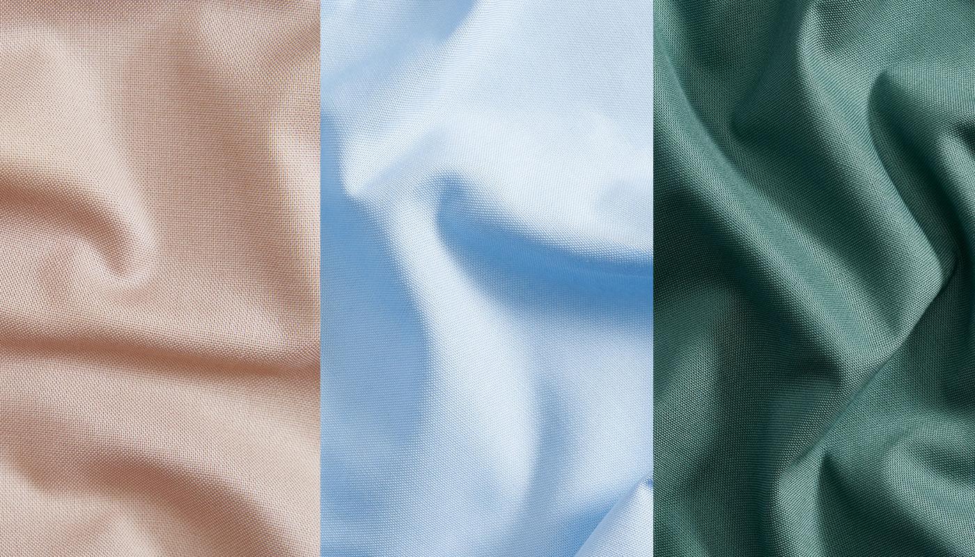 Petal solids colors Mushroom (#9D8C71), Sky Blue (#A7C0DA), and Pine (#496B60)