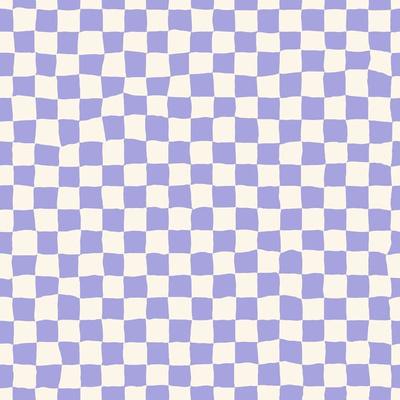 Wavy purple and white checkboard pattern