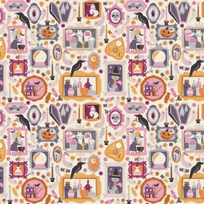 Fabric design with pastel picture frames with halloween images