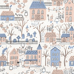 Fabric design with pastel neighborhood and wandering ghosts