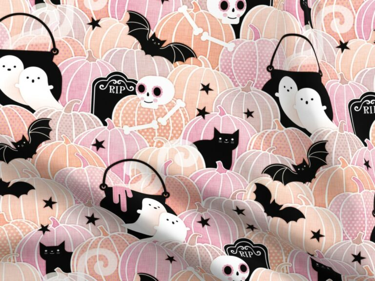 Fabric design with winged unicorns