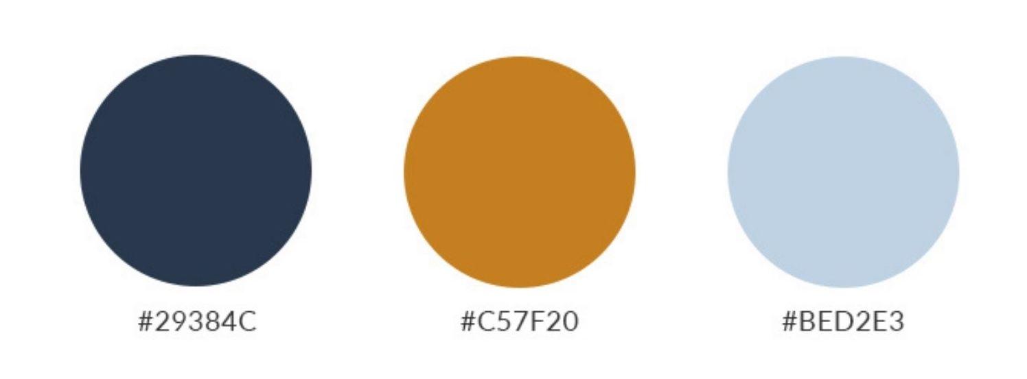Hex codes for Petal solids: Navy (#29384C), Fog (#BED2E3) Desert Sun (#C57F20)