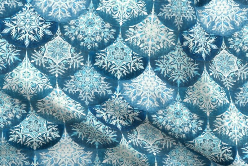 Fabric design with aqua, teal and white snowflakes in staggered rows on a denim blue background