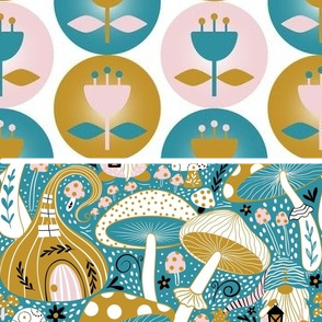 This image includes two different fabric designs, one in the top half of the image and one in the bottom half. The fabric design in the top half features staggered rows of teal, pink and dark yellow flowers in varying circles of those same colors on a white background. The fabric design in the bottom half features white mushrooms with either dark yellow spots or stripes amidst small dark yellow gnome houses with curly tops on a teal background