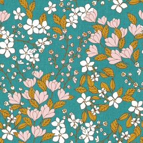 Fabric design of small white and pink flowers with green leaves on a teal background