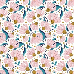 Fabric design full of pink flowers with dark yellow middle and and teal and navy stems falling both downward and upward on a white background