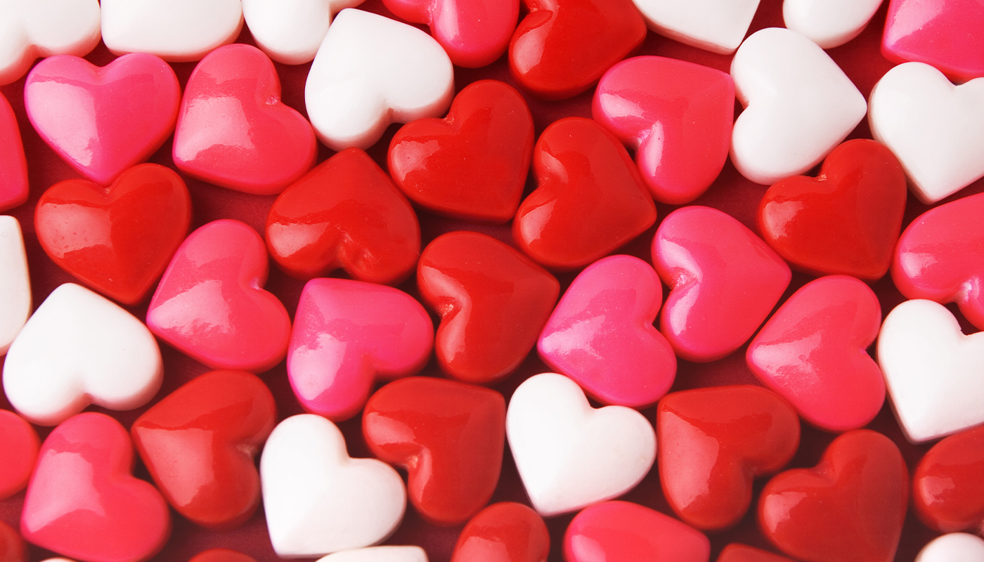 Pink red and white candy hearts