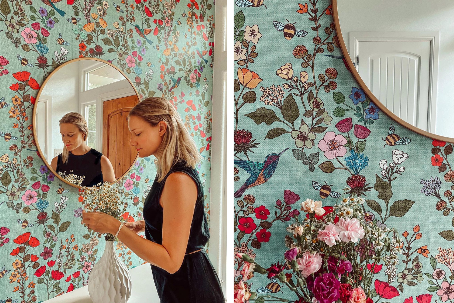 Entryway with a mirror and floral wallpaper