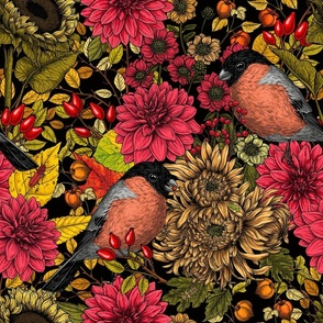 Fabric design with red and yellow florals with birds