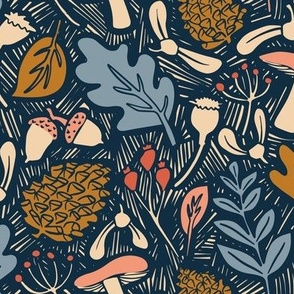 Fabric design with blue leaves and warm-toned pinecones and acorns