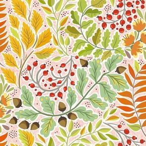Fabric design with brightly colored ferns and leaves